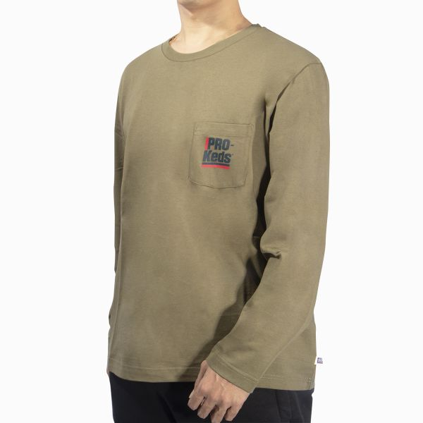 LS POCKET TEE BURNT OLIVE