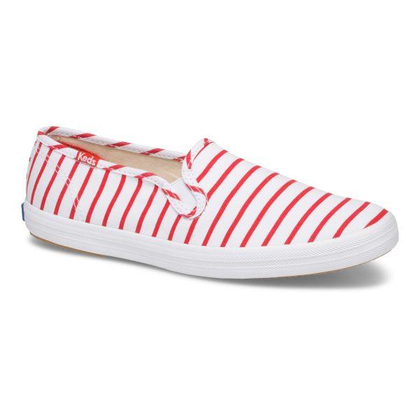 CHAMPION SLIP ON BRETON STRIPE WHITE RED